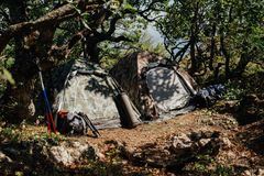 Two tourist tents in the forest in the camp. Two tourist tents with decomposition tourist equipment day in the woods around the camp fire royalty free stock photo