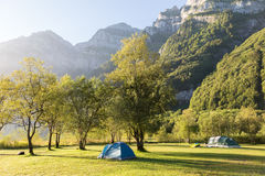 Two tourist tents in  mountains. Alps. Switzerland. Royalty Free Stock Photography