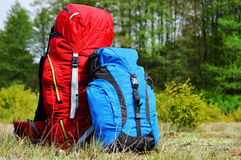Two touristic backpacks on the meadow Stock Image