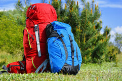 Two touristic backpacks on the meadow Royalty Free Stock Photos