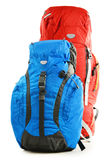 Two touristic backpacks on white Stock Photos