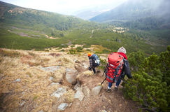 Two tourists go down on mountain trail. Young tourist walking in group together on beautiful natural road surrounded in green meadow and beautiful big mountains Royalty Free Stock Images