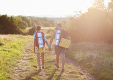 Two tourists make hiking the trail Royalty Free Stock Image
