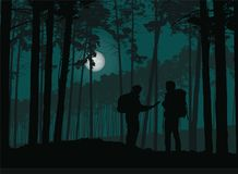 Two tourists, man and woman wandering the night forest with map,. Under the sky with moon - vector Stock Image