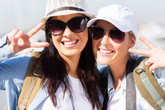 Two tourists posing Royalty Free Stock Image