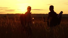 Two tourists silhouettes. two tourists at sunset are standing in the field watching cards in the smartphone. tourists. Drink water silhouette from plastic stock footage
