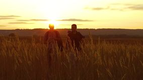 Two tourists silhouettes. two tourists go nature at sunset. tourist silhouette nature slow motion video. Two tourists silhouettes. two tourists go nature sunset stock footage
