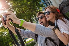 Two Tourists Taking Selfie Royalty Free Stock Image
