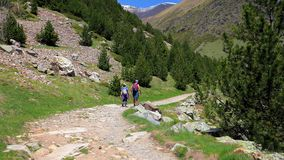 Two tourists walking on pathway of Spanish Pyrenees near Valley of Nuria.  stock video