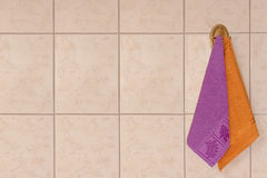 Two towels. Inscenization about hygiene in the bathroom Stock Photography