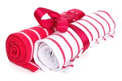 Two towels associated with tape and rolled up Royalty Free Stock Photo