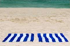 Two towels the beach Royalty Free Stock Photography