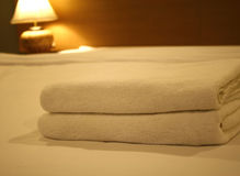 Two towels on the bed Stock Image