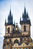 Two tower church of our lady before Tyn Stock Photography