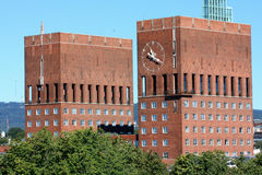 Two tower on City Hall (Radhuset), Oslo, Norway Royalty Free Stock Photography
