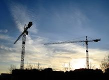 Two tower cranes Royalty Free Stock Images