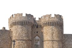 Two tower of Greek castle Rhodes old medieval isolated on white. Background Stock Image