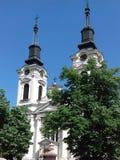 Beautiful church at Sremski Karlovci. Two tower white church in Sremski Karlovci, Srbija. Sunny day, no clouds stock photos