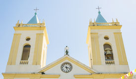 The two towers bells and the clock of Catedral Metropolitana Stock Image