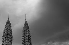 The two towers. A black and white shot of the Petronas twin towers in Kuala Lumpur Malaysia Stock Photo