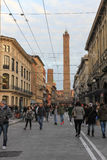 Two Towers in Bologna, Italy Stock Photo
