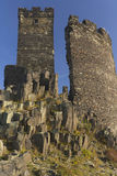 Two towers of  castle named Hazmburk. Ruin of state castle named Hazmburk, which stands on basalt rock (Czech Republic Royalty Free Stock Photo
