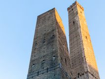 Two Towers Due Torri and blue sky in Bologna Royalty Free Stock Photo