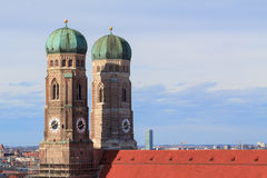 Two towers of Frauenkirche in Munich stock images
