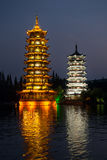 Two towers in Guilin city, China Royalty Free Stock Photos
