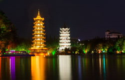 Two towers landmark of Guilin China Stock Images