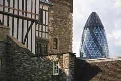 Two towers london england swiss re Stock Photography