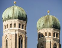 Close up of the towers of Frauenkirche in Munich, Germany Stock Photo