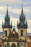 Two towers in Prague Royalty Free Stock Images
