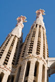 Two towers of Sagrada Familia Cathedral in Barcelo Royalty Free Stock Photos