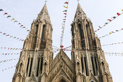 Two towers of the Saint Philomena Cathedral in Mysore, Karnataka, India Stock Images