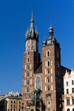 Two towers of St. Mary's Basilica on main  market sguare  in cracow in poland Royalty Free Stock Photos