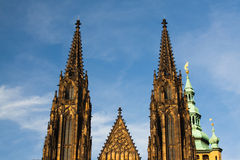 Two towers on the west side of St.Vitus Cathedral Royalty Free Stock Image