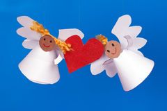 Two toy angel and heart Royalty Free Stock Photo