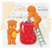 Two toy bear stealing cherry juice. Stock Image