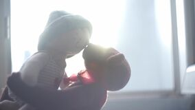 Two toy bears kissing with the sun on the background