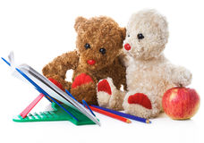 Two toy bears read the book Stock Image
