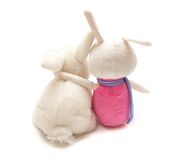 Two toy bunnies embrace each other Royalty Free Stock Photography