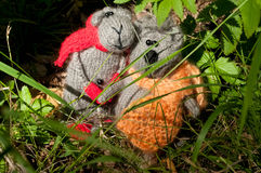 Two toy cat and mouse, hand made Royalty Free Stock Photo