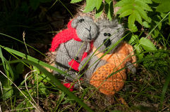 Two toy cat and mouse, hand made Royalty Free Stock Image