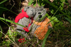 Two toy cat and mouse, hand made Stock Images
