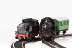 Two toy locomotive. Pictured items of a toy railroad Royalty Free Stock Photo