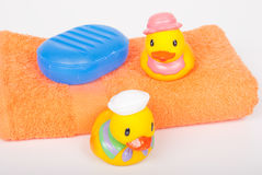 Two toy rubber duck stock photography