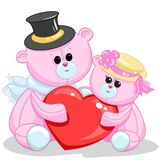 Two toy teddy bear with a heart Stock Photo