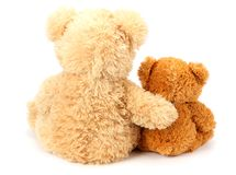 Two toy teddy bears isolated on white background royalty free stock photography