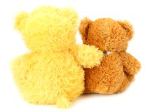 Two toy teddy bears isolated on white background stock photos